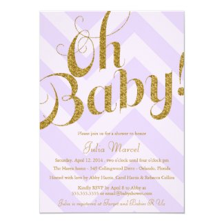 "Glitter Baby Shower Invitation with Purple Chevron 5"" X 7"" Invitation Card"