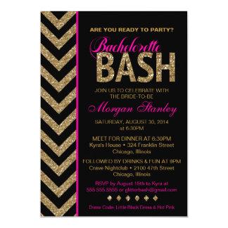 Glitter Bachelorette Bash Party Invitation Pink