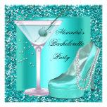 Glitter Bachelorette Party Aqua Teal Blue Announcements