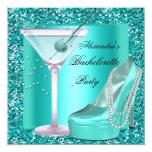 Glitter Bachelorette Party Aqua Teal Blue 5.25x5.25 Square Paper Invitation Card