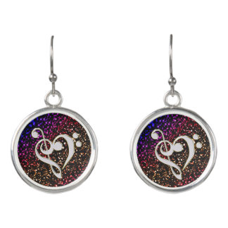 Glitter Back Silver Music Clef Heart Earrings