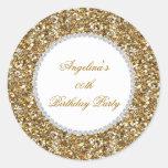 Glitter Birthday Party Gold Diamond Trim Any Age Classic Round Sticker