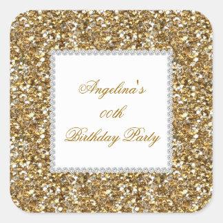 Glitter Birthday Party Gold Diamond Trim Any Age Square Sticker