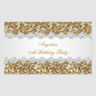Glitter Birthday Party Gold Diamond Trim Any Age Rectangular Sticker