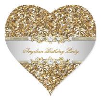 Glitter Birthday Party Gold Jewel Diamond Any Age Heart Sticker