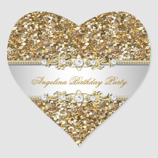 Glitter Birthday Party Gold Jewel Diamond Any Age Heart Sticker