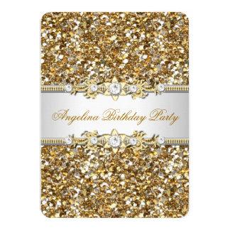 Glitter Birthday Party Gold Jewel Diamond Card