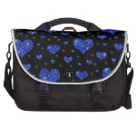 Glitter black blue hearts pattern commuter bags