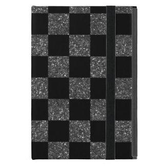 Glitter black glitter checkered pattern iPad mini cover