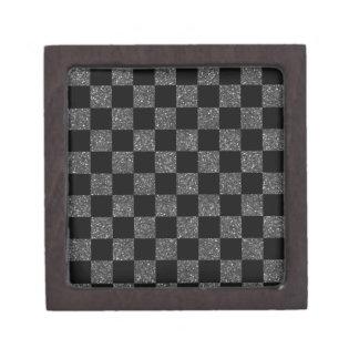 Glitter black glitter checkered pattern premium keepsake boxes