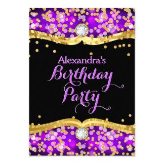 Glitter Black Gold Purple Confetti Birthday Party Card