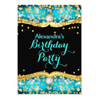 Glitter Black Gold Teal Confetti Birthday Party Card