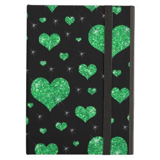 Glitter black green hearts pattern case for iPad air