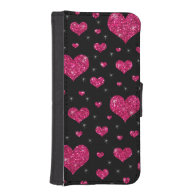 Glitter black hot pink hearts pattern iPhone 5 wallet cases