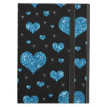Glitter black light blue hearts pattern iPad cover
