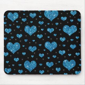 Glitter black light blue hearts pattern mouse pad
