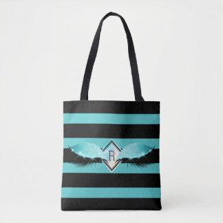 Glitter Black Makeup Eyelashes Stripes Monogram Tote Bag