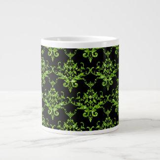 Glitter black neon green damask pattern 20 oz large ceramic coffee mug