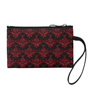 Glitter black red damask pattern coin wallet