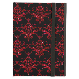 Glitter black red damask pattern iPad air cover