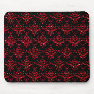 Glitter black red damask pattern mouse pads