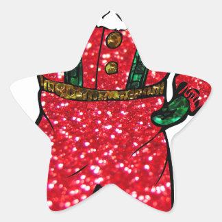 glitter black santa claus star sticker