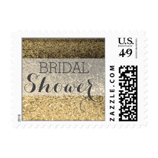 Glitter BLING Bridal Shower Postage (gold)