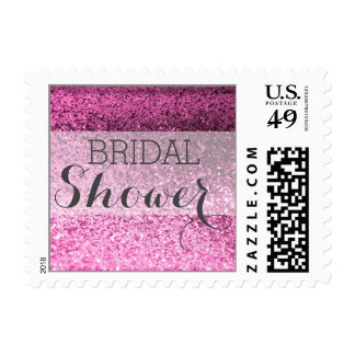 Glitter BLING Bridal Shower Postage (pink)