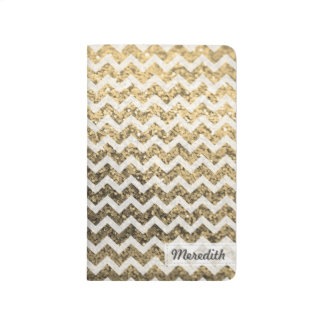 Glitter Bling Chevron Pocket Journal (gold)