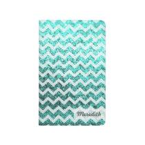 Glitter Bling Chevron Pocket Journal (turquoise)