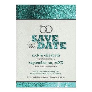 Glitter Bling Save the Date Announcement (aqua)