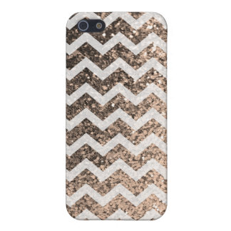 Glitter Bling Sparkly Chevron Pattern (champagne) iPhone SE/5/5s Cover