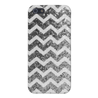 Glitter Bling Sparkly Chevron Pattern (silver) Case For iPhone SE/5/5s