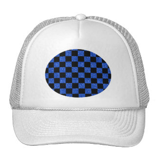Glitter blue and black checkered pattern trucker hat