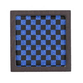 Glitter blue and black checkered pattern premium jewelry box