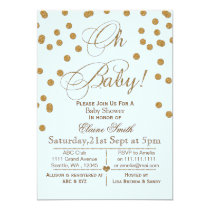 Glitter blue and gold baby shower invitation