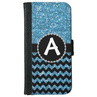 Glitter Blue Chevron, Diamond Ribbon Flap iPhone 6 Wallet Case