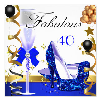 Glitter Blue Gold 40 Fabulous 40th Birthday Party Card