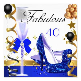 Glitter Blue Gold 40 Fabulous 40th Birthday Party Invitation