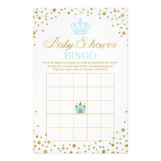 Glitter Blue Royal Crown Prince Baby Shower Bingo Flyer
