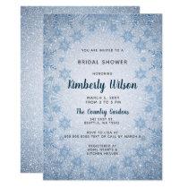 0636f26dc1d Glitter Blue Snowflakes winter Bridal Shower Invitation