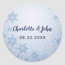 Glitter Blue Snowflakes winter wedding Classic Round Sticker