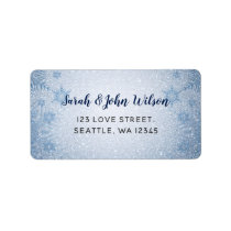 Glitter Blue Snowflakes winter wedding Label