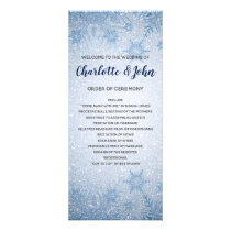 Glitter Blue Snowflakes winter wedding programs