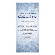 Glitter Blue Snowflakes winter wedding programs