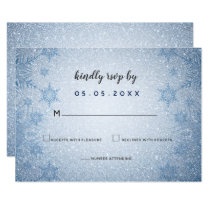 Glitter Blue Snowflakes winter wedding rsvp Card