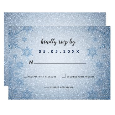 Glitter Blue Snowflakes winter wedding rsvp Card