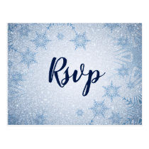Glitter Blue Snowflakes winter wedding rsvp Postcard