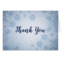 Glitter Blue Snowflakes winter wedding Thank You Card