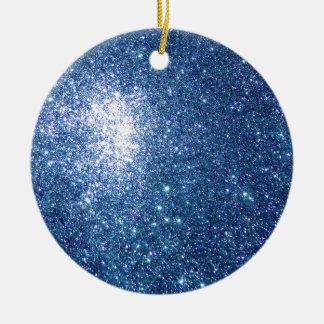 Glitter Blue Starfield Ceramic Ornament